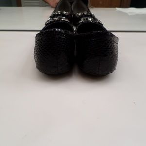 Sam Edelman Shoes - SAM EDELMAN CAPER BLACK SNAKE PRINT JEWELED FLATS